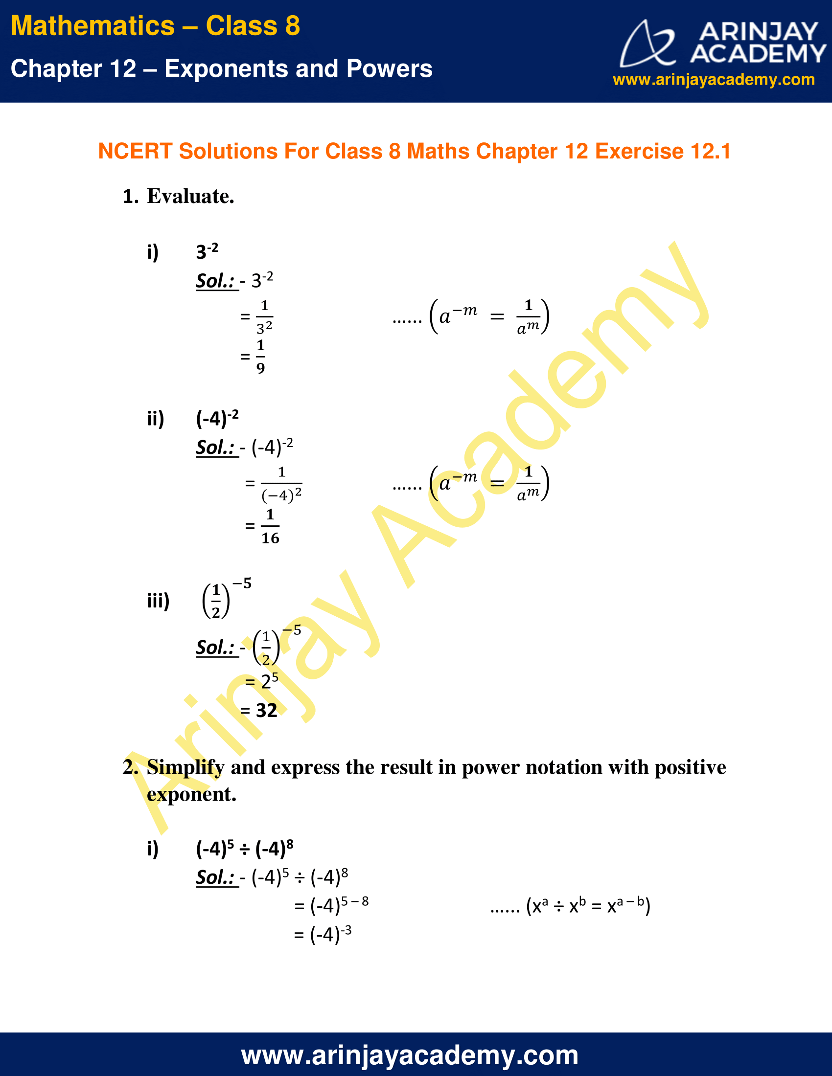 Ncert Solutions For Class 8 Maths Chapter 12 Exercise 12 1