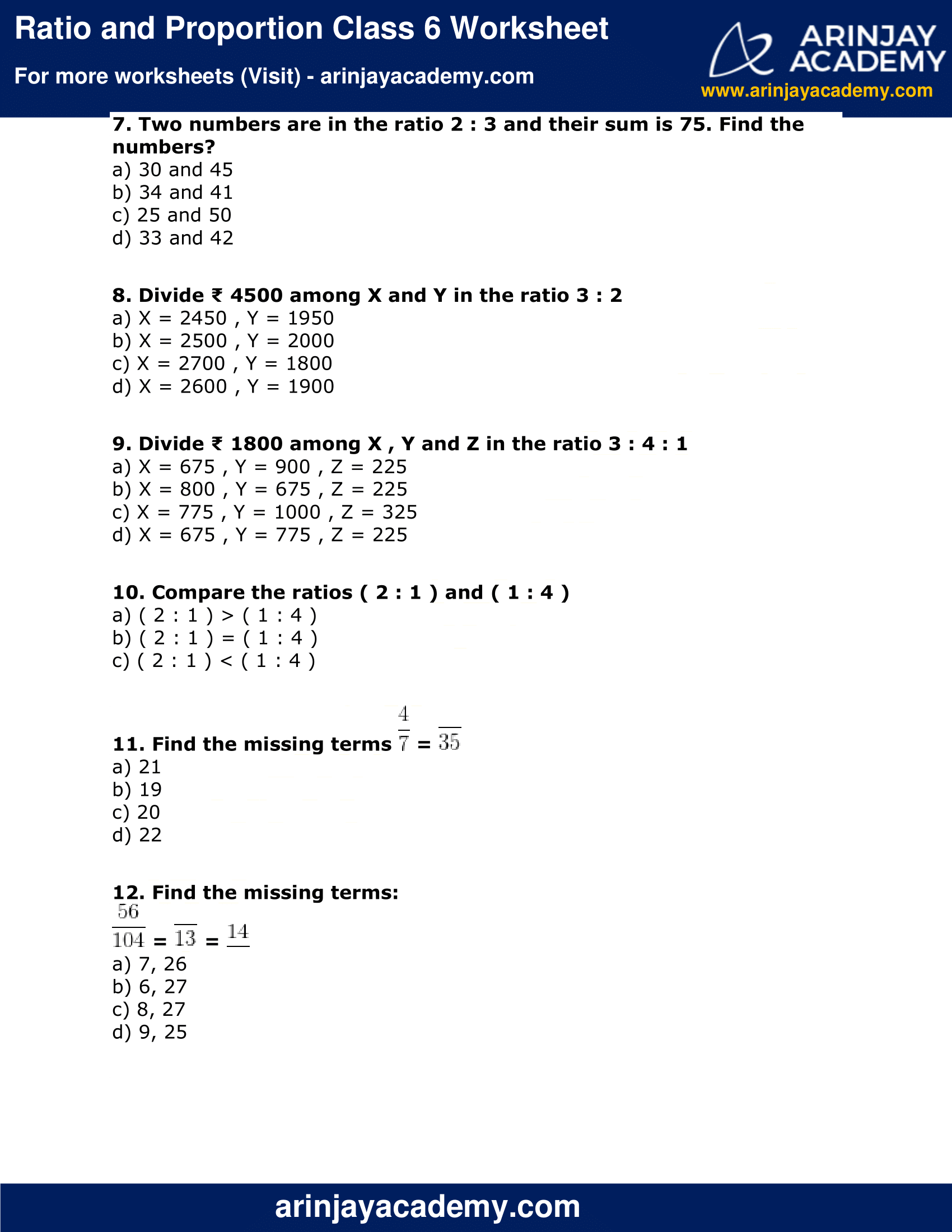 Ratio Proportion And Unitary Method Worksheet Class 6