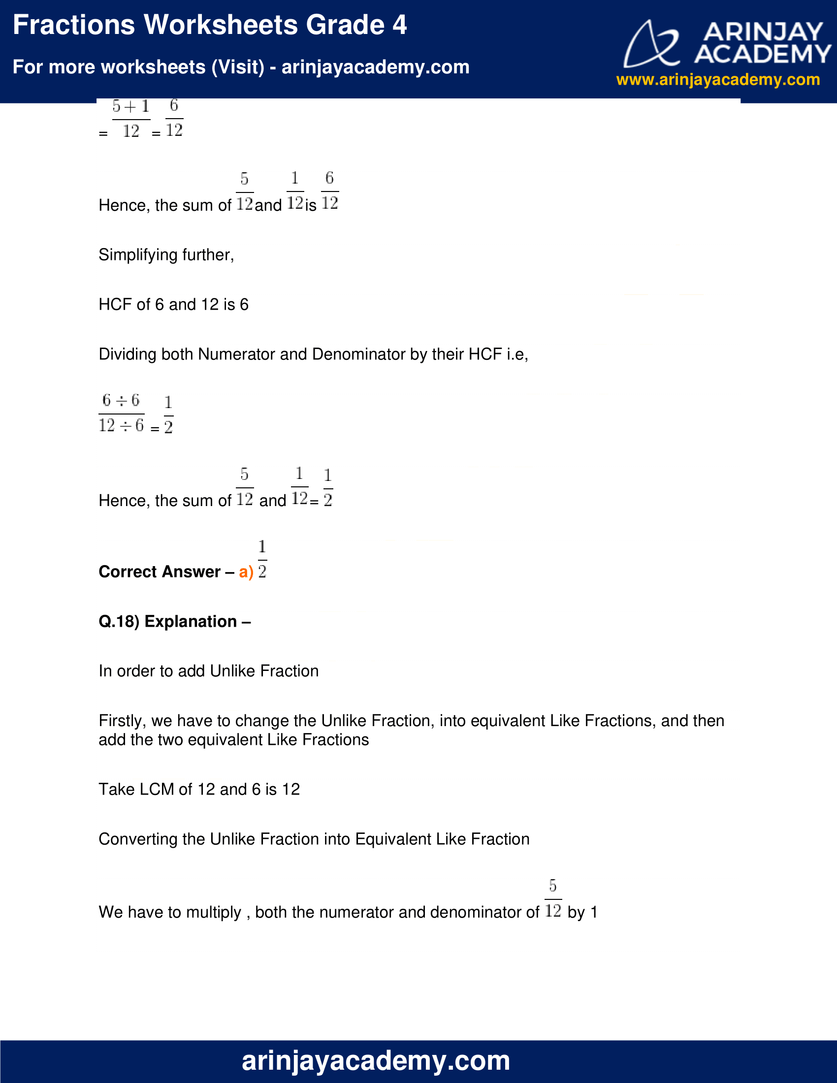 Fractions Worksheets Grade 4