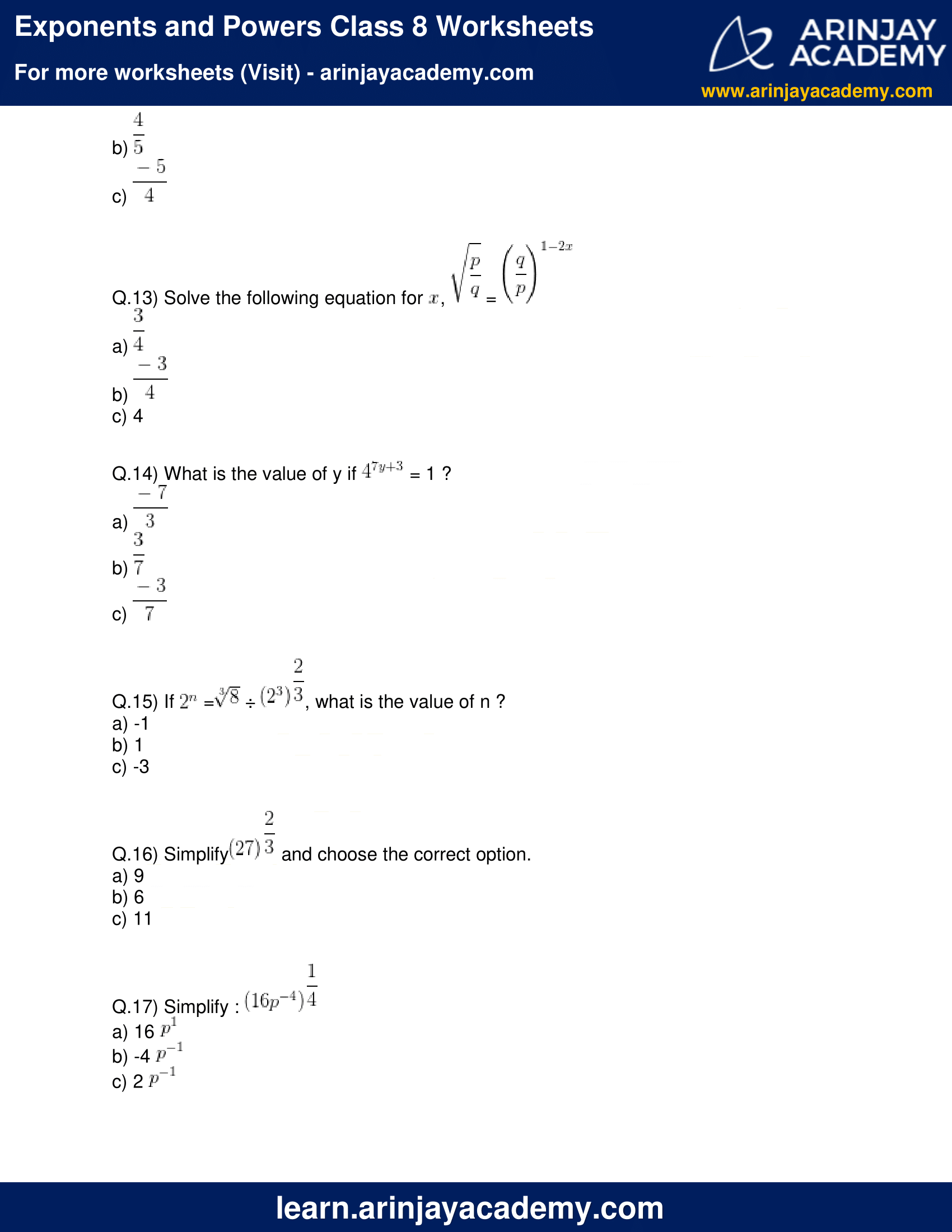 Exponents And Powers Class 8 Worksheets