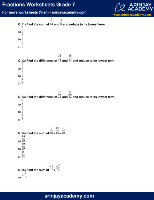 small resolution of Fractions Worksheets Grade 7 - Free and Printable - Maths