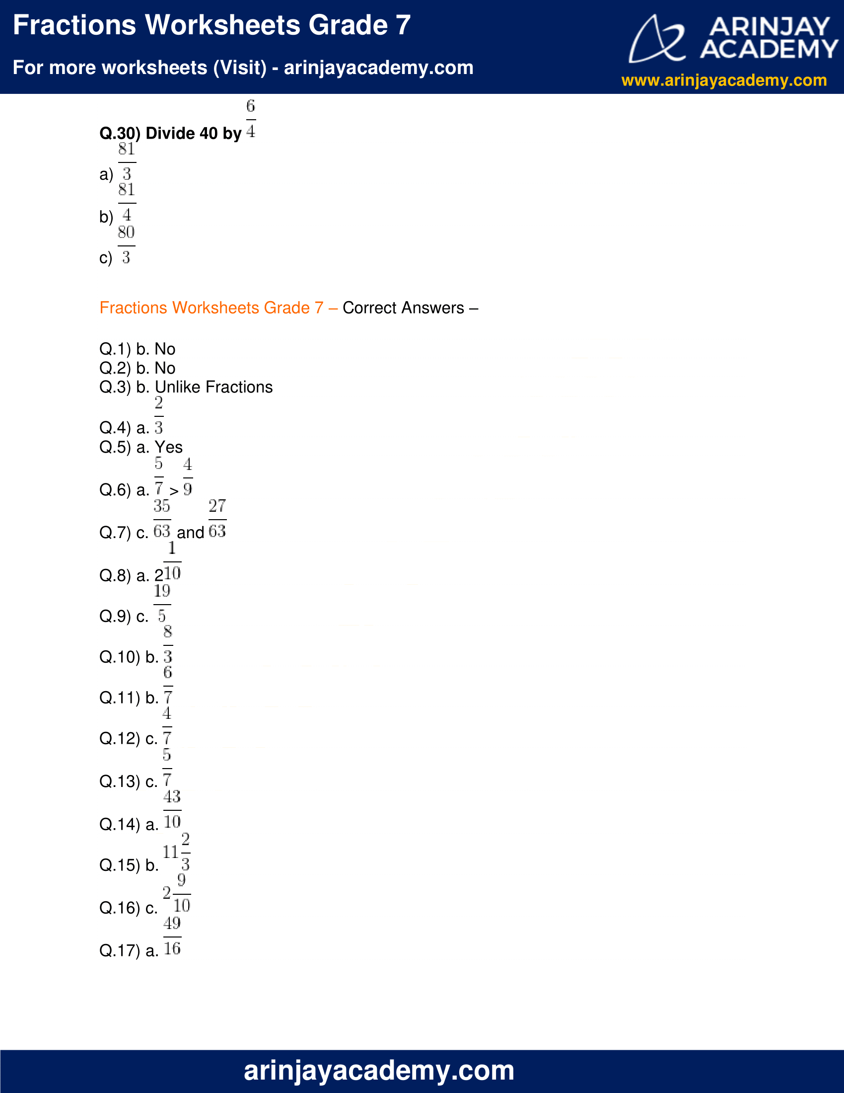 hight resolution of Fractions Worksheets Grade 7 - Free and Printable - Maths