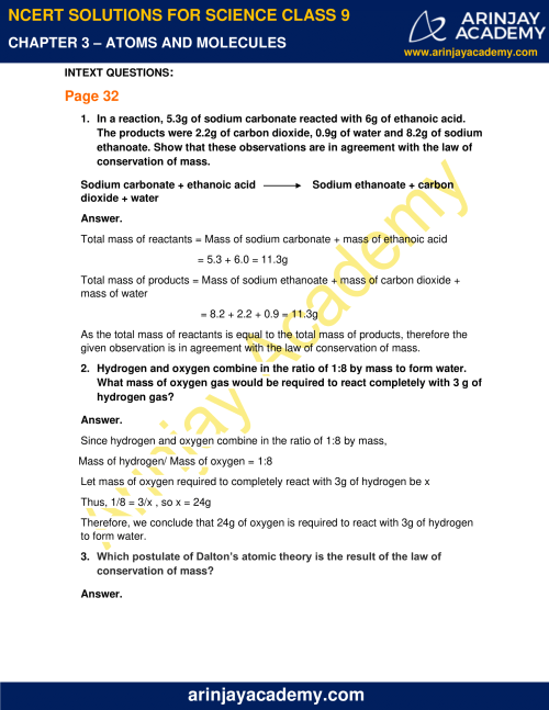 small resolution of NCERT Solutions for Class 9 Science Chapter 3 - Atoms and Molecules