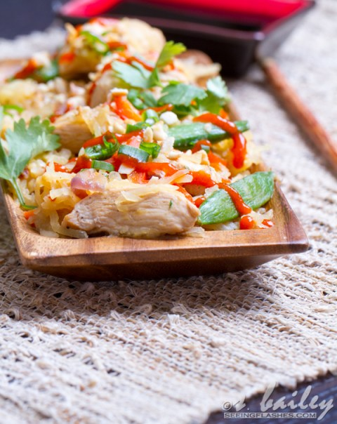 Spaghetti Squash Chicken Pad Thai #glutenfree #dairyfree