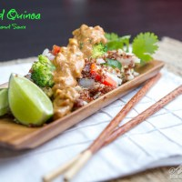 Crab Fried Quinoa with Spicy Peanut Sauce