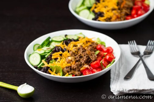 10 Minute Taco Salad via arismenu.com