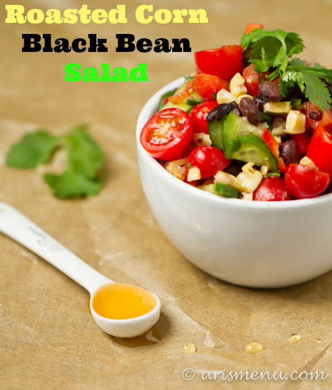 Roasted Corn Black Bean Salad #vegan #glutenfree