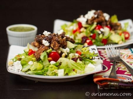 Black Bean Burger Salad with Cilantro Lime Vinaigrette #glutenfree