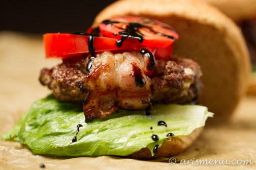Bacon Wrapped Gorgonzola Fig Burgers with Balsamic Glaze