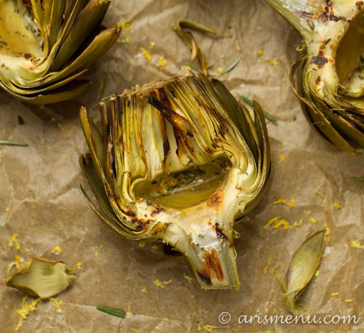 Lemon Rosemary Grilled Artichokes