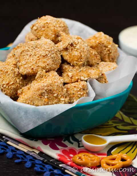 Pretzel Crusted Chicken Nuggets -- Super easy, fast and healthy dinner the whole family can enjoy. Using gluten-free pretzels and paired with a creamy maple mustard dipping sauce