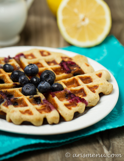 Blueberry Lemon Buttermilk Waffles: Healthy & gluten-free
