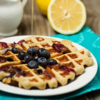 Blueberry Lemon Buttermilk Waffles  { + Giveaway! }
