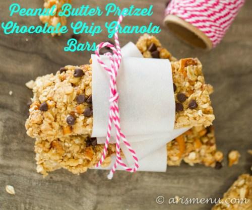 Healthy & gluten-free peanut butter pretzel chocolate chip granola bars