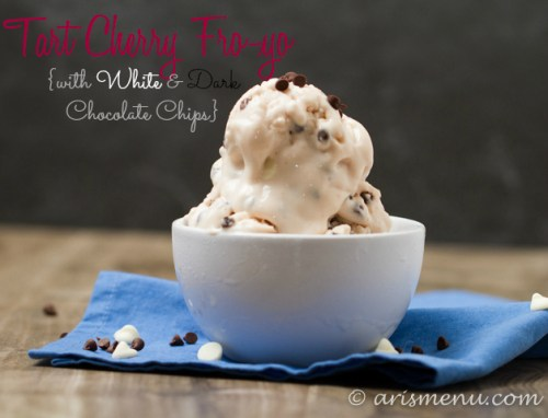 Tart Cherry Fro-yo with White & Dark Chocolate Chips: Easy, ultra creamy and healthy!