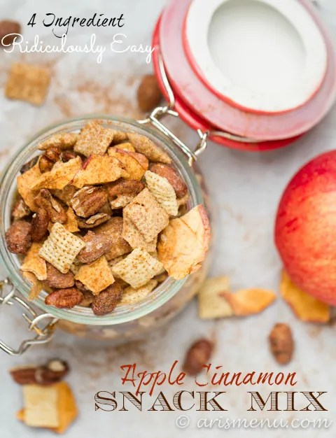 4 Ingredient, Ridiculously Easy Apple Cinnamon Snack Mix