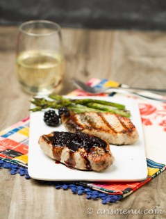 Grilled Pork Chops with Balsamic Blackberry Sauce