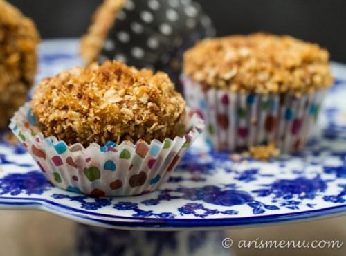 Roasted Banana Streusel Muffins