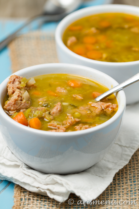 Spicy Sausage Split Pea Soup: Warm, hearty, comforting and filled with bold flavor!