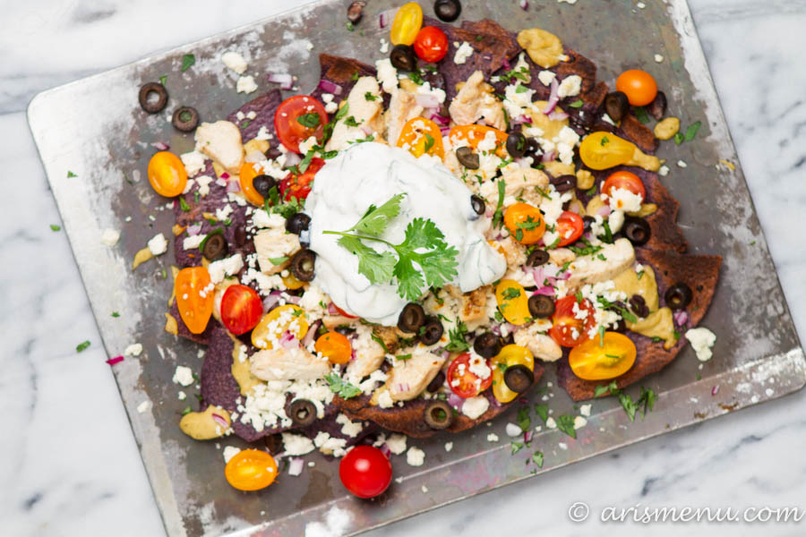Mediterranean Nachos: Taking comfort food to the next level with this Mediterranean inspired twist!