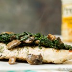 Grilled Chicken with Creamy Parmesan Spinach & Mushrooms: This quick and easy weeknight dinner is bursting with flavor and comes together in minutes!