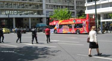 jaywalking policemen, Syntagma square, Athens