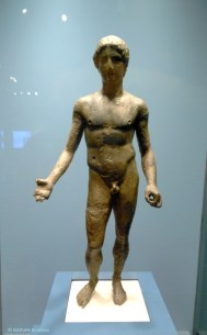 Hellenistic statuette of god or athlete.
