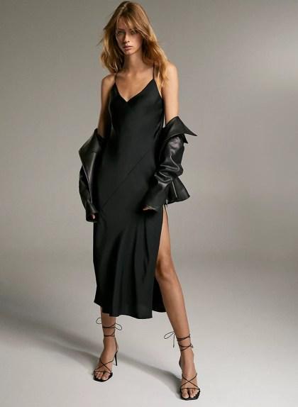 BELLAMY DRESS - Satin cowl-back slip dress