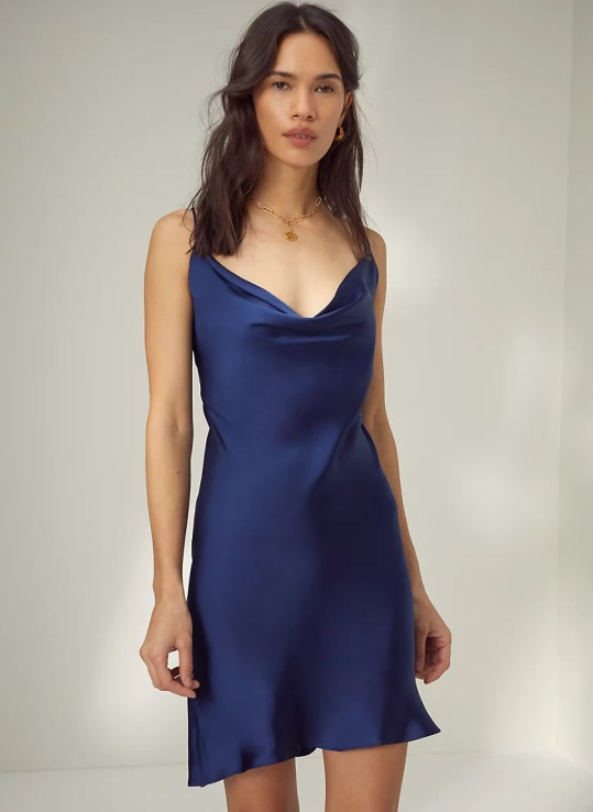 DIAMANTE DRESS - Strappy satin slip dress