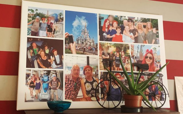 A picture of a montage of pictures from Florida on the wall of Emma's kitchen