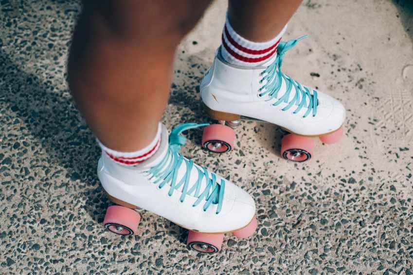 white and red roller skates