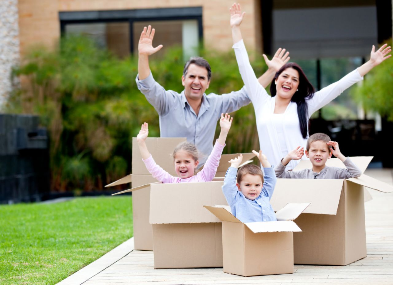 Family In Moving Boxes