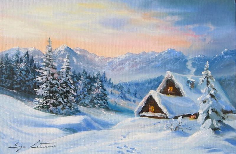 Snowy Mountain Landscape Painting