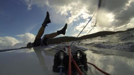 Is this a Blunder or a Crash? Miss the hiking straps and it could be a Rule 14 kerplunk. Photo: Sailing World
