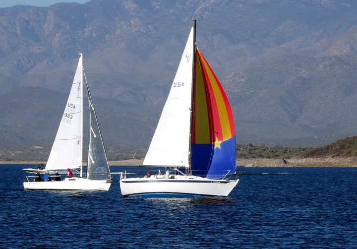 The Ferrings' J/80 and Tom Errickson's colorful Erickson 26 on Lake Pleasant. Photo: Janet Cohen