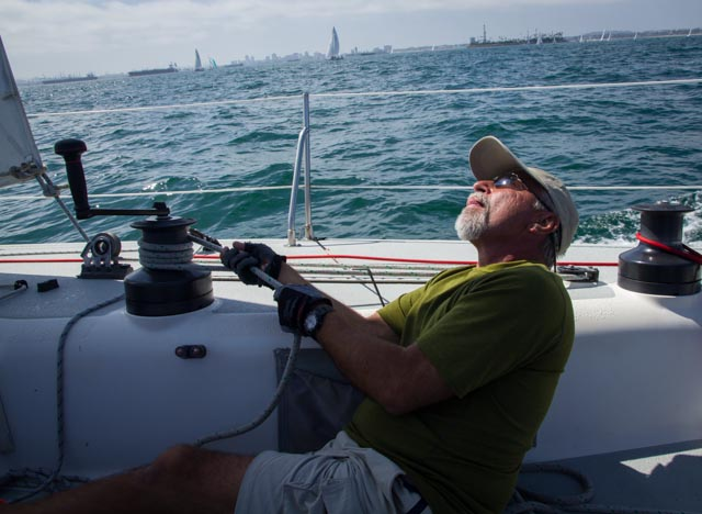 New member and veteran sailor Scott Burkhardt gets into the racing thing.