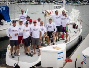 In matching team shirts, the Crazy Train gets ready to set sail.