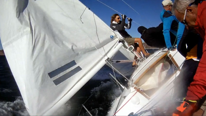 Victor Felice and his brave crew in nutty-windy. Photo: Victor's brave stern pulpit camera.