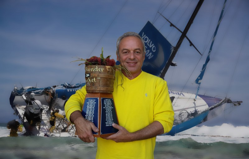Victor Felice proudly shows off the coveted AYC Blunder Bucket, awarded twice a year for the best sailing blunders. Now apparently he's showing that he had a hand in Vesta running aground in the Volvo Ocean Race!