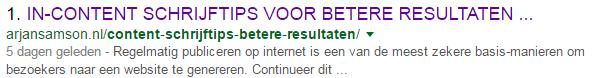 CONTENT SCHRIJFTIPS - resultaat in Google