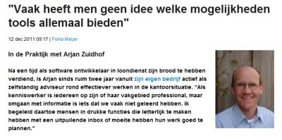 interview Arjan Zuidhof over effectiever werken met online tools