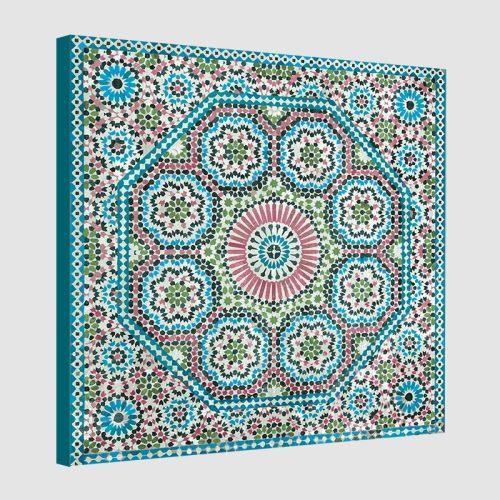 Tableau oriental mosaïque rosace-turquoise