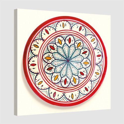 Tableau oriental assiette unitaire-rouge