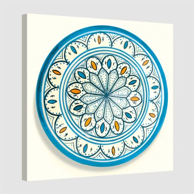 Tableau oriental assiette unitaire-turquoise