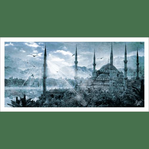 Poster oriental-mosquée d'Istanbul-bleu