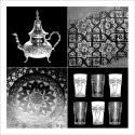 Poster oriental service à thé-gris