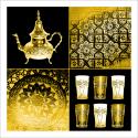 Poster oriental service à thé-jaune