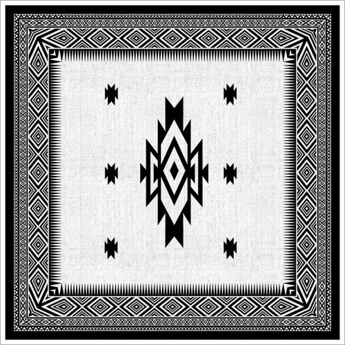Poster oriental-tapis berbère carré-noir