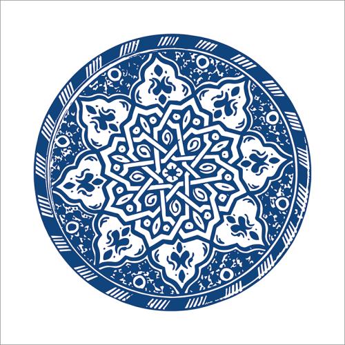 Poster oriental-assiette moderne-bleu