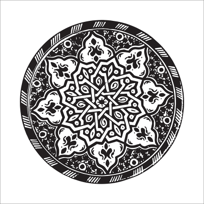 Poster oriental-assiette moderne-noir